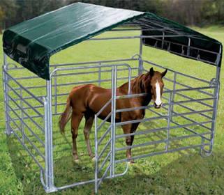 Pferdezubehör: Mobiler Panelunterstand als günstiger Wetterschutz